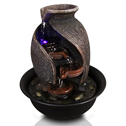 Amazon serenelife 4 tier desktop electric water fountain decor serenelife 4 tier desktop electric water fountain decor w led indoor outdoor portable workwithnaturefo