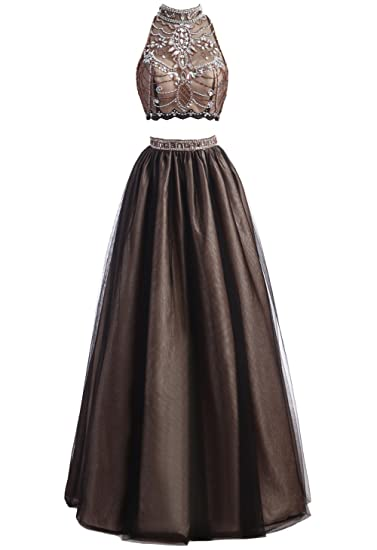 Callmelady Tulle Two Piece Prom Dresses Long Evening Gowns For Women Formal: Amazon.co.uk: Clothing