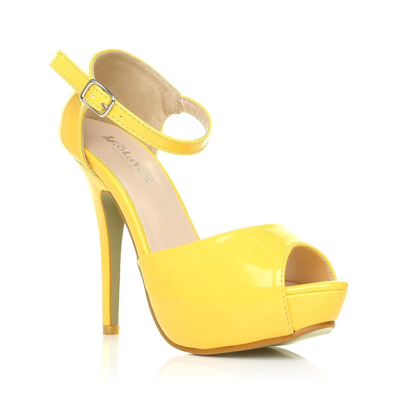 ShuWish UK London Yellow Patent Ankle Strap Platform Peep Toe High Heels:  Amazon.co.uk: Shoes & Bags