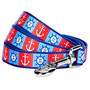 "Blueberry Pet 2 Patterns Classy Bon Voyage Nautical Ocean Harbor Designer Dog Leash, 4 ft x 1"", Large, Durable Leashes for Dogs"