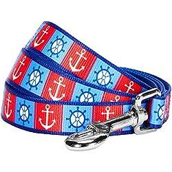 "Blueberry Pet 2 Patterns Classy Bon Voyage Nautical Ocean Harbor Designer Dog Leash, 5 ft x 3/4"", Medium, Durable Leashes for Dogs"