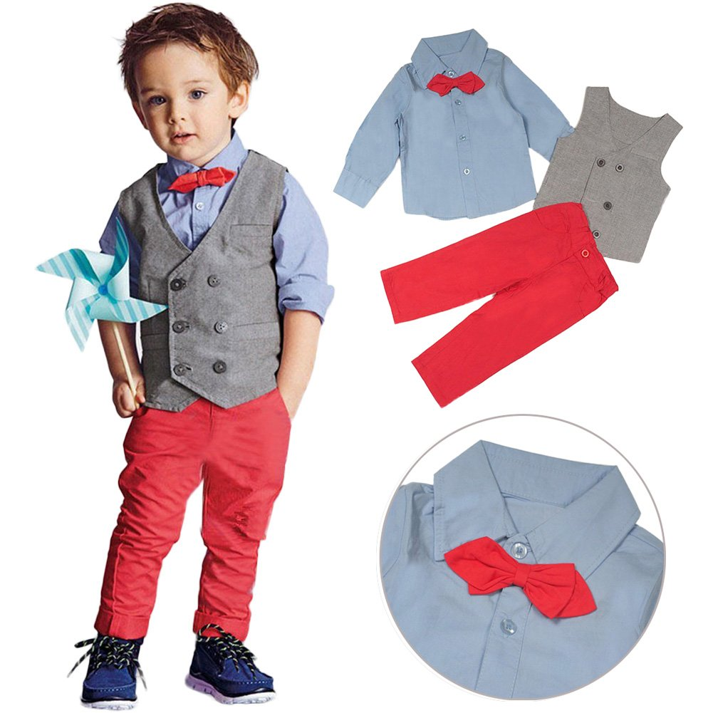 Clothes Outfits Set, Fashion Gentleman Kids Boys Waistcoat+ Shirt+ Pants Trousers 3Pcs Clothes Set for Casual, Formal, Party Occasions