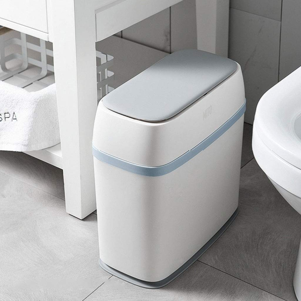 Weiyue trash can- Trash Can Gray Blue Pink color : Blue, Size : 34.5x17.2x36cm