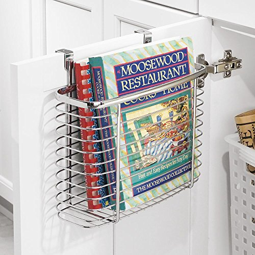 InterDesign Axis Over the Cabinet Kitchen Storage Organizer Basket for Aluminum Foil, Sandwich Bags, Cleaning Supplies - Medium, Chrome