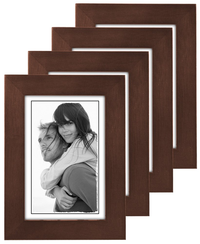 Malden 4x6 Picture Frame Real Glass Dark Walnut Wide Real Wood Molding