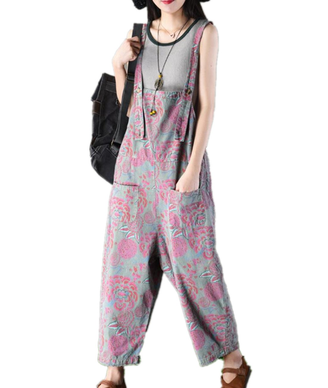 YESNO PQ7 Women Casual Loose Floral Overalls Rompers 100% Cotton Boyfriend Wide Leg Low Crotch Pocket