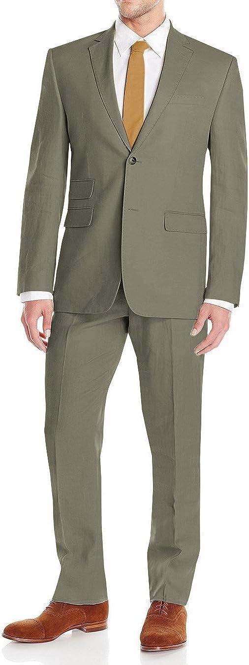DTI GV Executive Men's Modern Fit Linen Suit 2 Button Summer Blazer with Pants