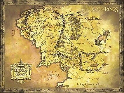 Mittelerde Karte Komplett.Close Up Poster Herr Der Ringe Karte Von Mittelerde Riesenformat 135 5 X 98cm