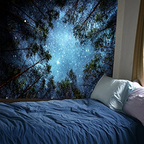 Gemostore 3D Forest Starry Sky Tapestry Wall Art India Hippy Bohemian Mandala Hanging Tapestry for Living Roon Bedroom by Gemostore (Image #1)