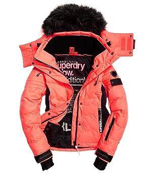 Superdry Skijacke Snow Puffer Jacke für Damen(neonkorallrot