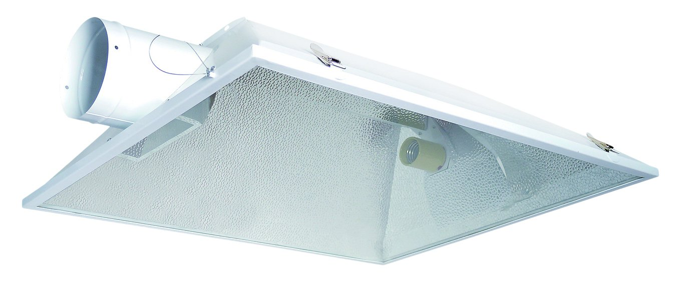 Hydro Crunch 6-Inch Extra Large Air Cooled Grow Light Reflector with 6'' Duct & Glass Panel