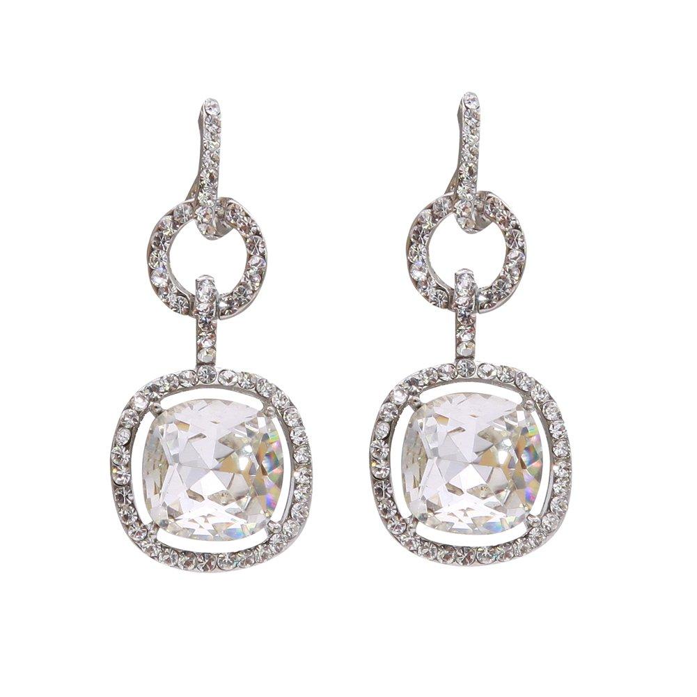 TTjewelry Bride Art Deco Wedding Buckle Square Pierced Crystal Dangle Earrings (Clear)