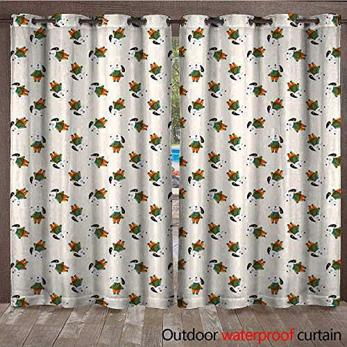 BlountDecor Dog Outdoor Curtain Panel for Patio Cartoonish Beagle Puppy Motif with Winter Attire Cute Little Animal with Human ClothingW108 x L108 Multicolor