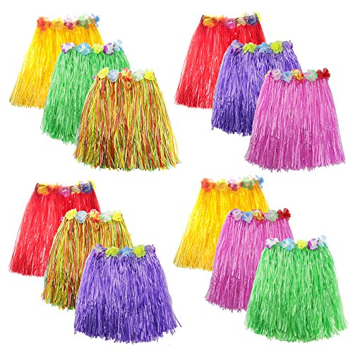 Luau Costumes Images (Zilong 12 Pack Elastic Hawaiian Grass Hula Skirt Dance Dresses luau Party Favors)