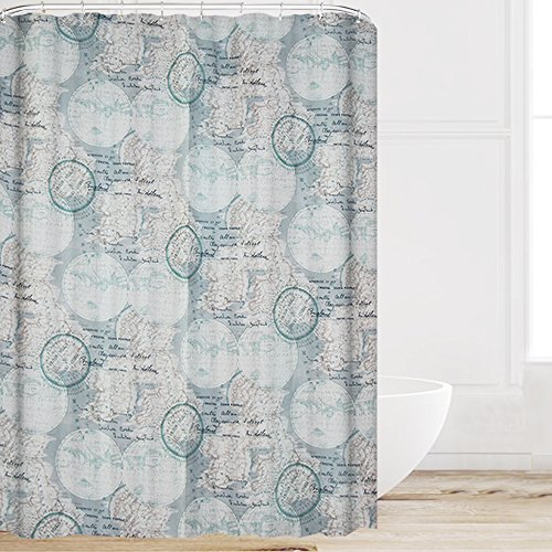 Eforcurtain Unique Vintage Map Print Fabric Waterproof Shower Curtain Light Blue Mildew Resistant for Boys, Heavy Duty Standard Size Bathroom Curtain with Free Plastic Hooks 72 by 72 Inch (Blue Polka Dot Shower Curtain)