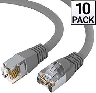 Snagless 10 Pack CAT5E Shielded Ethernet Patch Cable White 7 Foot