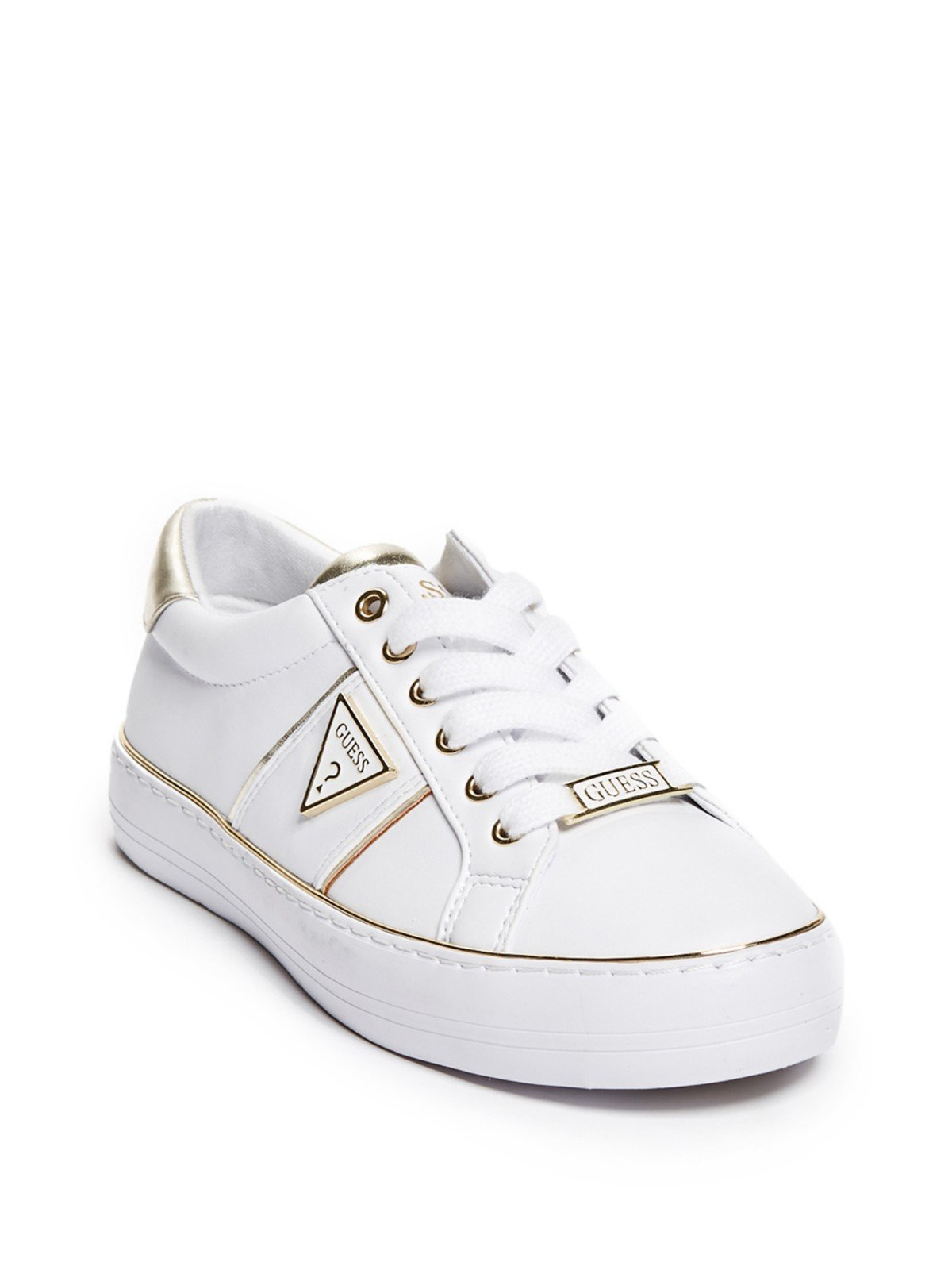 GUESS Factory Women's Gilda Logo Metallic Trim Low-Top Sneakers