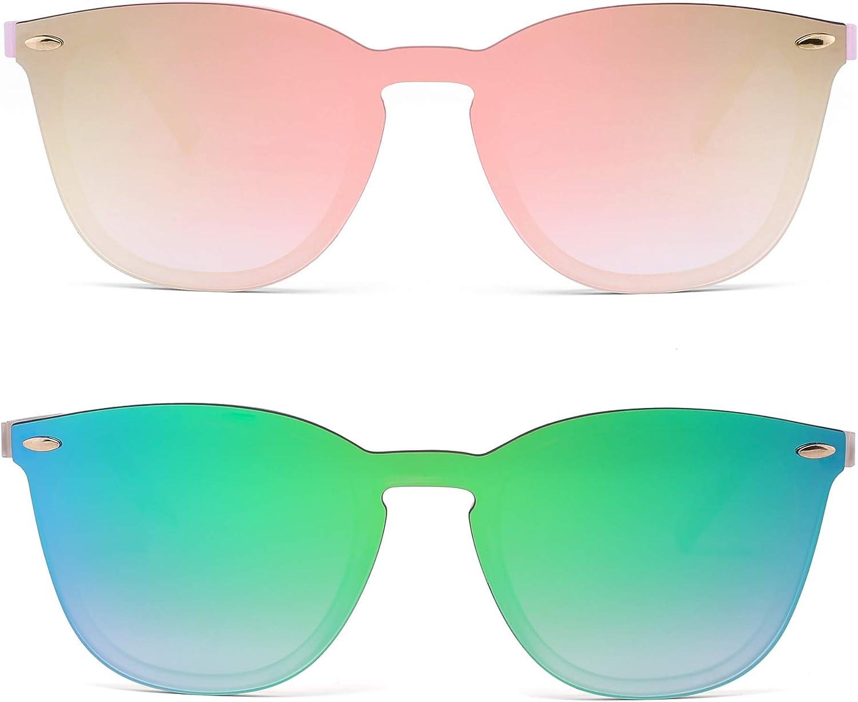 Gafas de Sol Sin Montura Una Pieza de Espejo Reflexivo Anteojos Para Hombre Mujer
