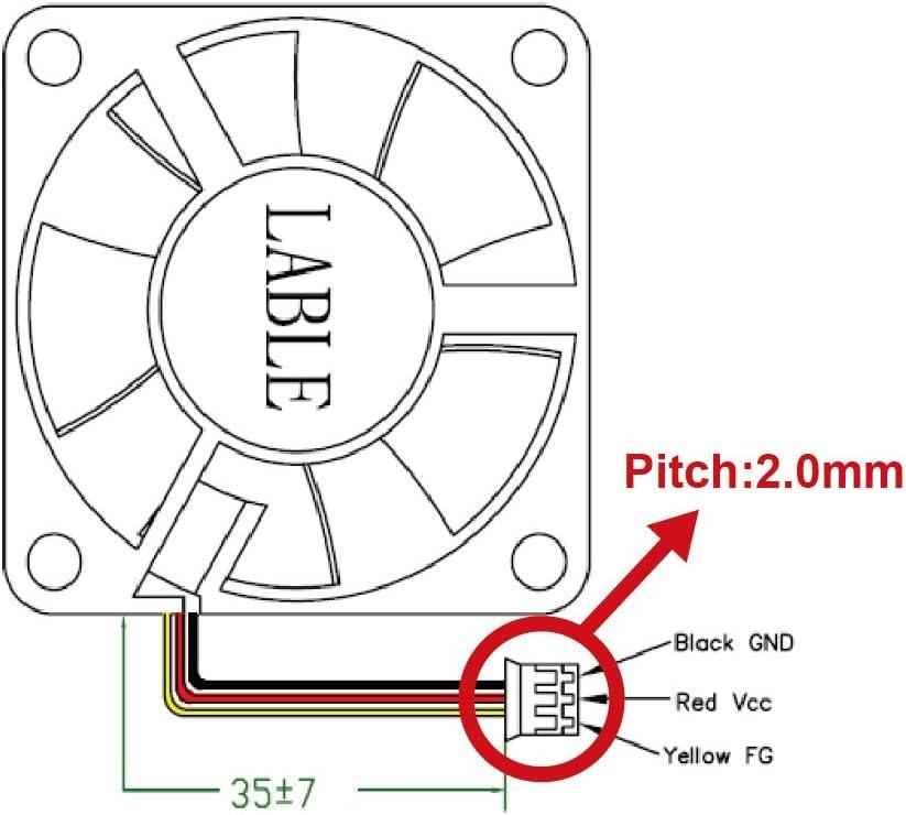 WINGSONIC G450270 DC 12V Sleeve Bearing Fan 35x35x10mm 3Pin 3Wire 3Pack