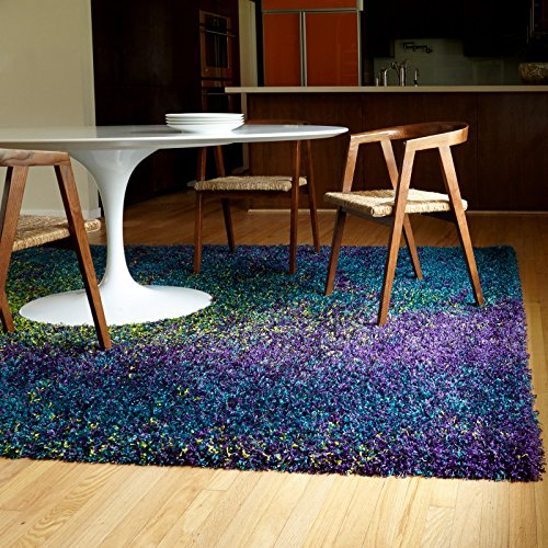 Shag Peacock Multi Colored Plush Rectangle Area Rug Blue Purple Lime Green (3'9 x 5'6)