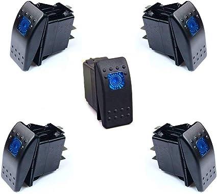 DCFlat 12v 20 Amp Waterproof Blue LED On/Off Boat Marine Rocker Switch with  Light (5 x Blue LED)