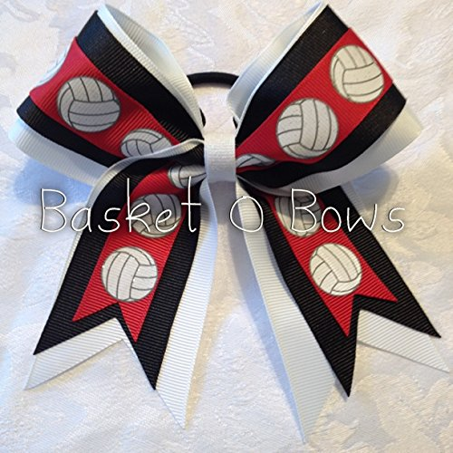 Small Bow ~ RED VOLLEYBALL Hair Bow ~ 3-layer ~ Made to Order