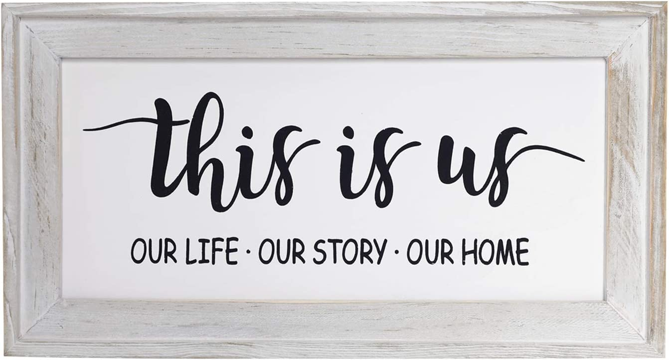 "This is Us Our Life Our Story Our Home Rustic Wood Wall Sign, Rustic Home Decor - Farmhouse Wall Decoration for Living Room, Kitchen, Bedroom, 14"" x 7.5"" Home Sign"