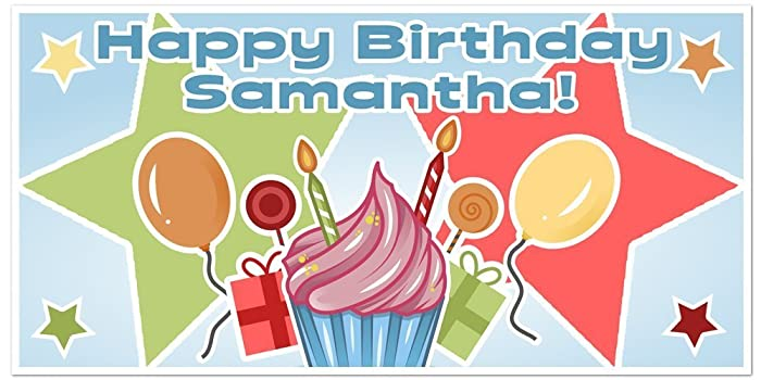 amazon com cupcake birthday banner personalized party backdrop