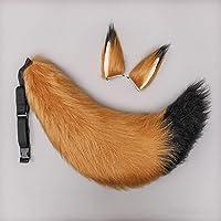 FAYANG Futrzane lisi uszy spinki i uroczy ponadwymiarowy lis ogon, spiczaste uszy lis opaska na głowę zwierzęta uszy…