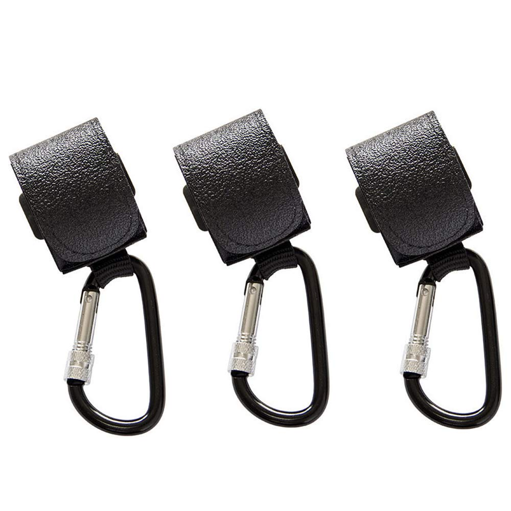 SYOOY 3 PCS Baby Stroller Hooks Pushchair Magic Sticker Straps Clips for Baby Diaper Bags, Groceries, Clothing, Purse Black