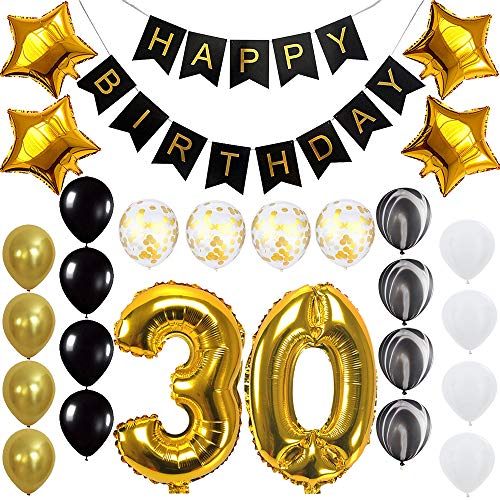 Happy 30th Birthday Banner Balloons Set for 30 Years Old Birthday Party Decoration Supplies Gold -