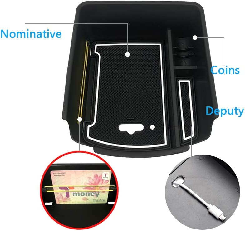 YEE PIN Center Console Organizer Tray Armrest Box Secondary Storage Insert ABS Materials Tray Compatible with 2020 Kia Seltos