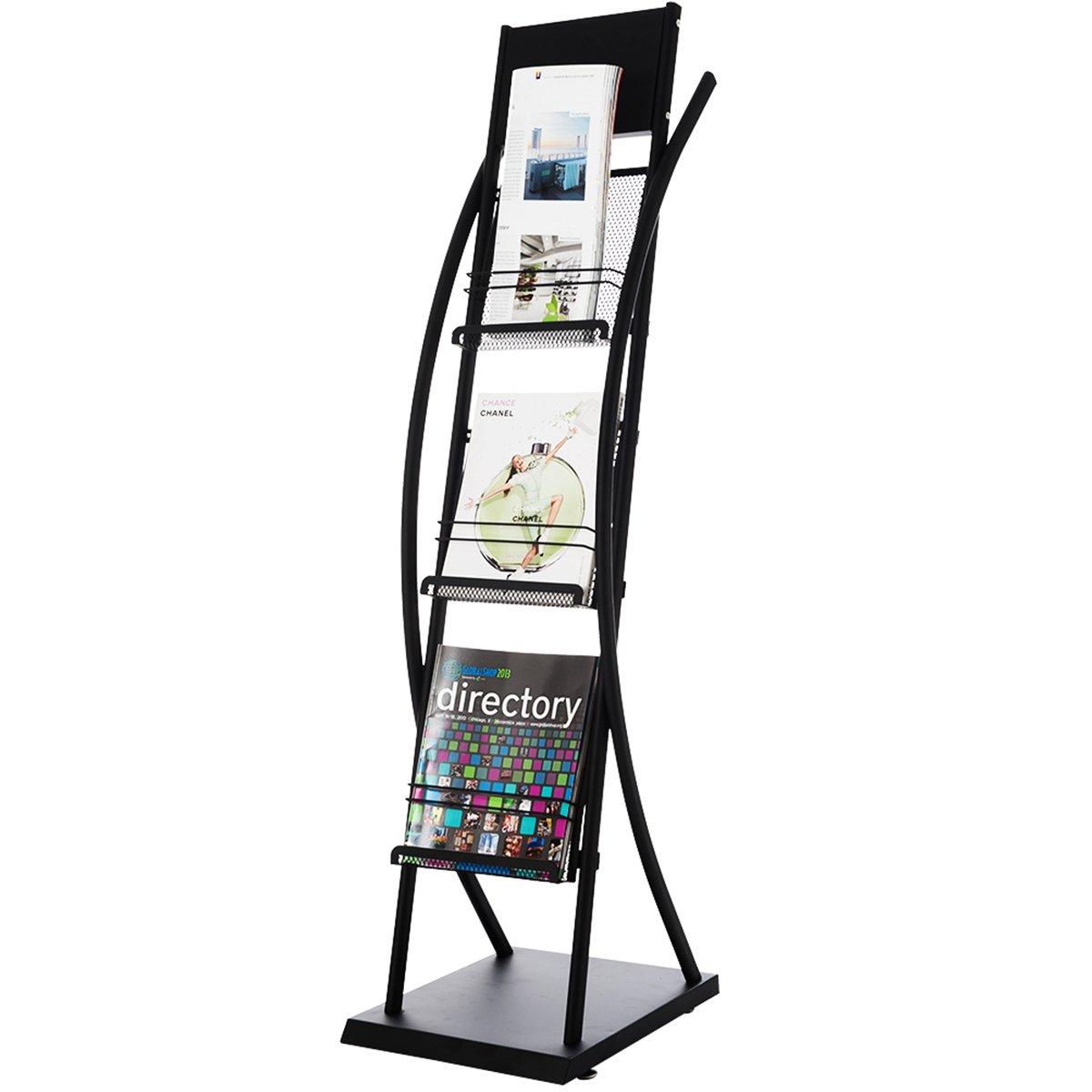 DXP Floor Standing Brochure Holder 3 Shelves Literature Magazine Display Stand Rack HJ-06 DXPHJ-06