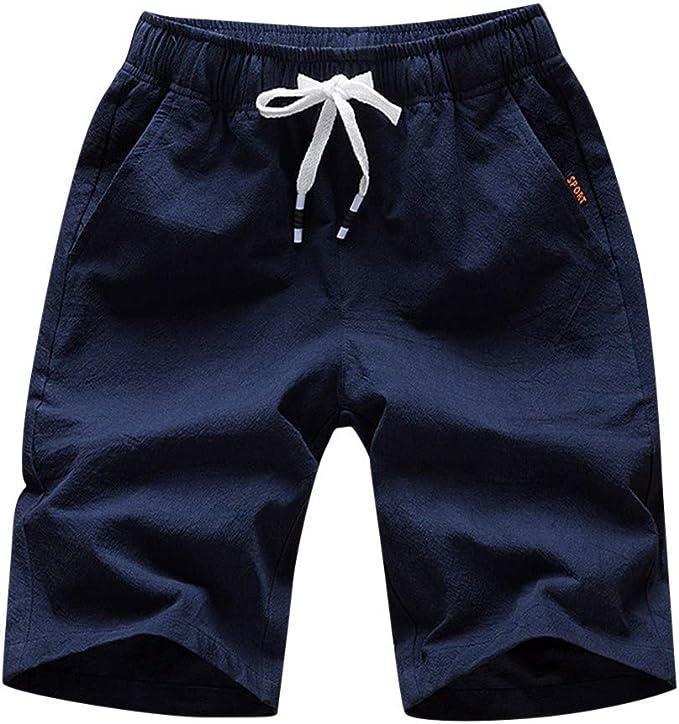Pantalones Cortos Hombre Verano Casual Moda Algodón y Lino ...