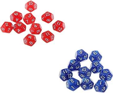 non-brand 20x Dados de Doce Caras D12 Dice para Juegos de Mesa Juegos de Tablero - Rojo y Azul: Amazon.es: Juguetes y juegos