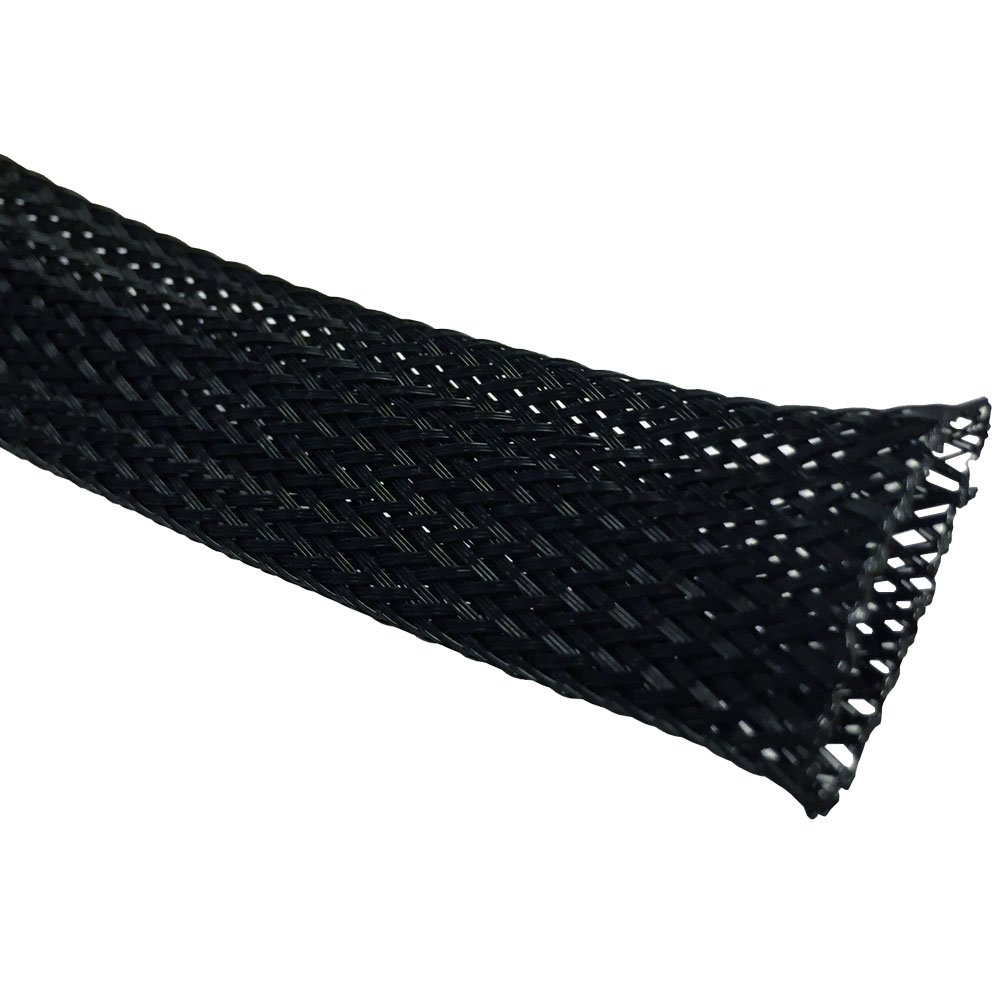 3/4'' PET Expandable Braided Sleeving - 500 Feet - Color: Black