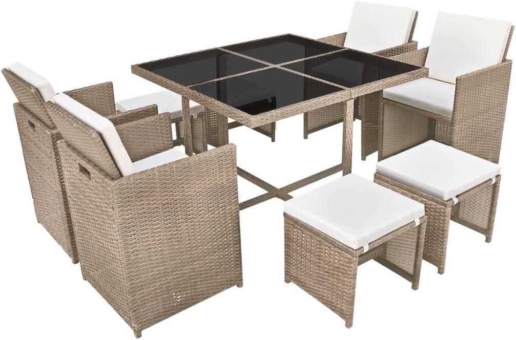 vidaXL Conjunto de Muebles de Exterior 9 Piezas Comedor de Jardín Sillas y Mesa de Porche Patio Poli Ratán Sintético Beige Estilo de Mimbre
