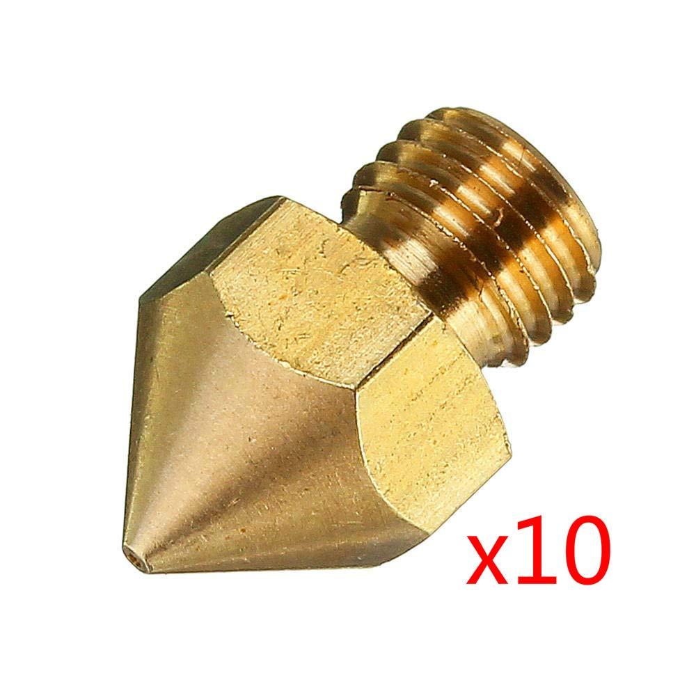 3pcs Boquilla extrusora de rosca M6 de cobre de 0,4 mm para impresora CR-10S PRO 3D 1