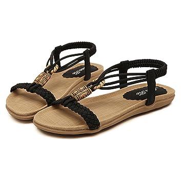Frauen Sandalen Böhmen Flip Flops Strand Perlen Retro Flache Schuhe. 35-42 . Black . 40 gqCZmuGMK
