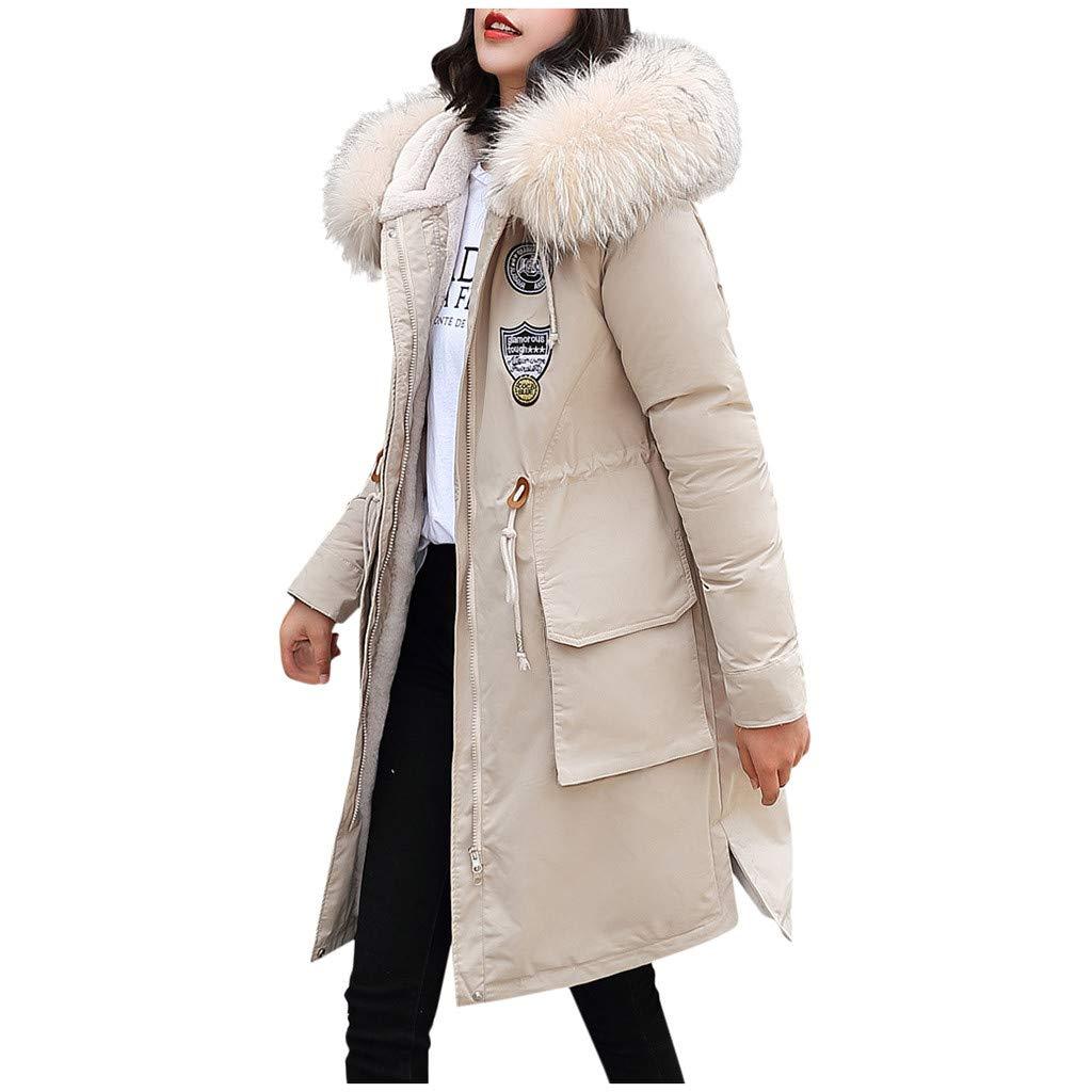 Allywit- Women Outerwear Faux Fur Hooded Button Coat Long Solid Warm Jackets Windbreaker Coats with Big Pocket White by Allywit- Women