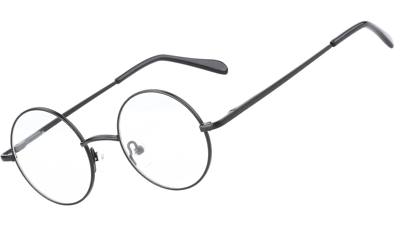 99289489cdc2 Amazon.com: Agstum Retro Round Prescription ready Metal Eyeglass Frame  (Small Size) (Black): Clothing
