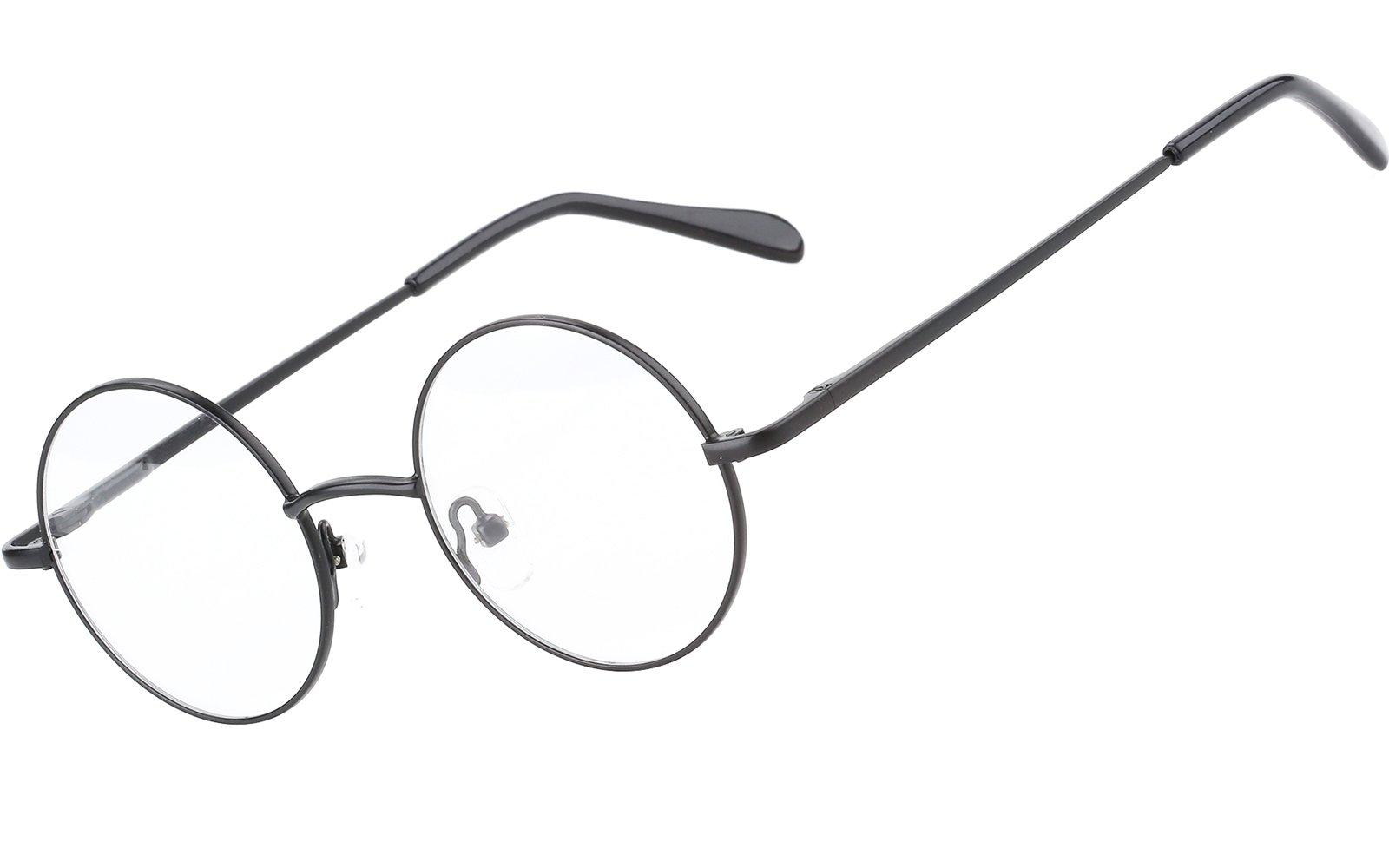 Agstum Retro Round Prescription ready Metal Eyeglass Frame (Small Size) (Black) by Agstum