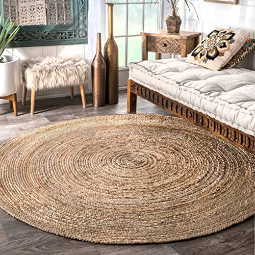 Casuals Natural Fibers Natural Hand Woven Area Rug Jute Braided 6 Feet Round (6' Round)