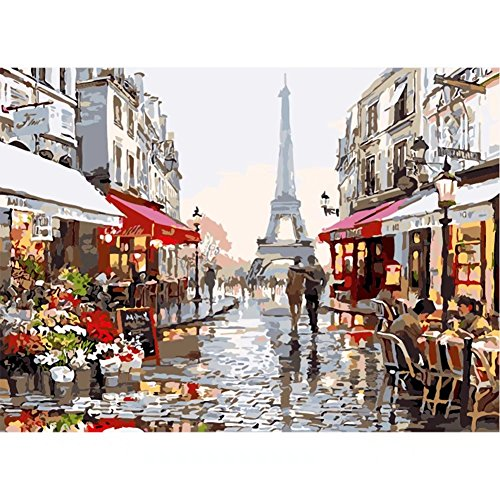 Paint by Numbers Kit for Kids Adults Women Men Husband wife Landscaping Unique Anniversary Pianting Gifts - France Romantic Paris Street Eiffel Tower 16x20 Inches Frameless
