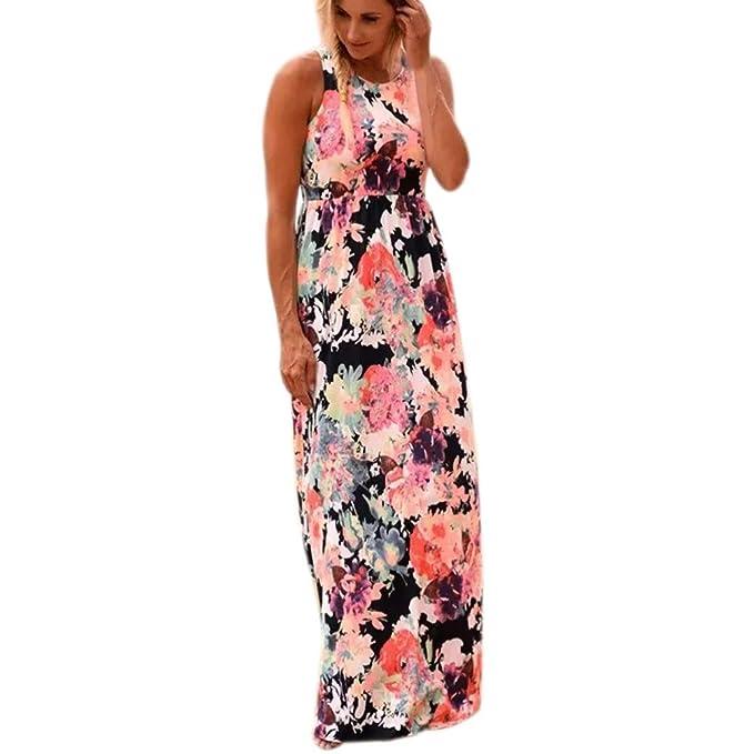 feiXIANG Frauen ärmellosen Kleider O-Ausschnitt Sommer Kleid Rock Damen  Floralen Druck Maxi Kleid mit 352959a653