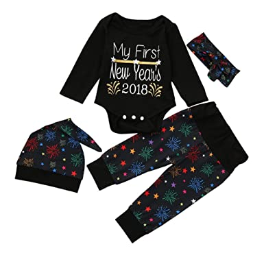 Vovotrade Newborn Baby Girls Boys Christmas Outfits Set Clothes 'My First  New Year 2018' - Amazon.com: Vovotrade Newborn Baby Girls Boys Christmas Outfits Set