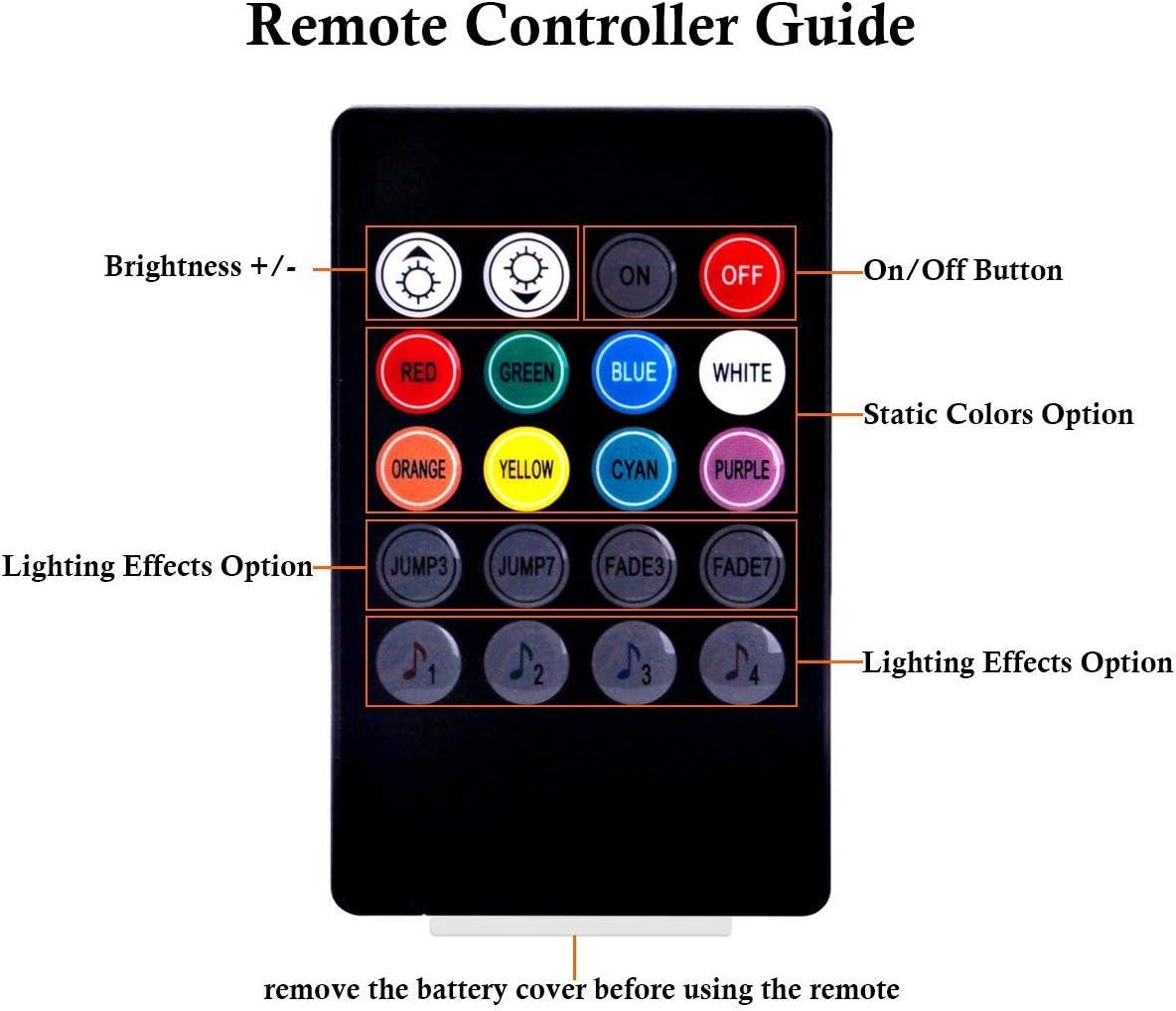 Tira de luz interior de led de coche 48 Luz de atm/ósfera LED Kit de iluminaci/ón de bajo color de m/úsica multicolor con funci/ón activa de sonido y control remoto inal/ámbrico