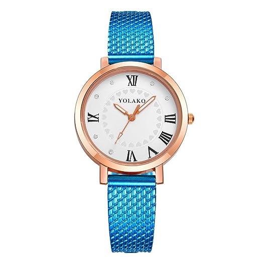 Relojes Mujer,❤LMMVP❤Las mujeres de moda correa de color digital dial de cuero banda de cuarzo analógico relojes (B): Amazon.es: Relojes