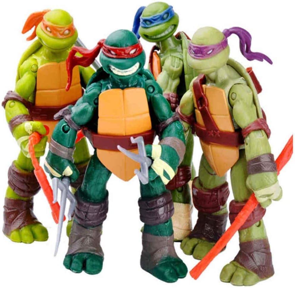 SNFHL Turtles Juego de Muñecas Móviles, Teenage Mutant Ninja Turtles Muñeca Móvil Modelo de Personaje de Anime Juguete Cumpleaños para Niños, 4.8 Pulgadas,4.8inches-Normal