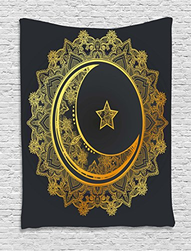 Ambesonne Mandala Tapestry, The Generous Month Themed Round with Crescent Moon Star Arabic Culture, Wall Hanging for Bedroom Living Room Dorm, 40 W X 60 L Inches, Charcoal Grey Yellow